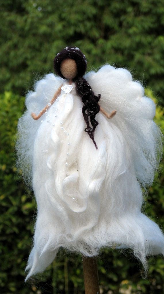 Angel Christmas topper Waldorf inspired Needle felted Tree top Fairy