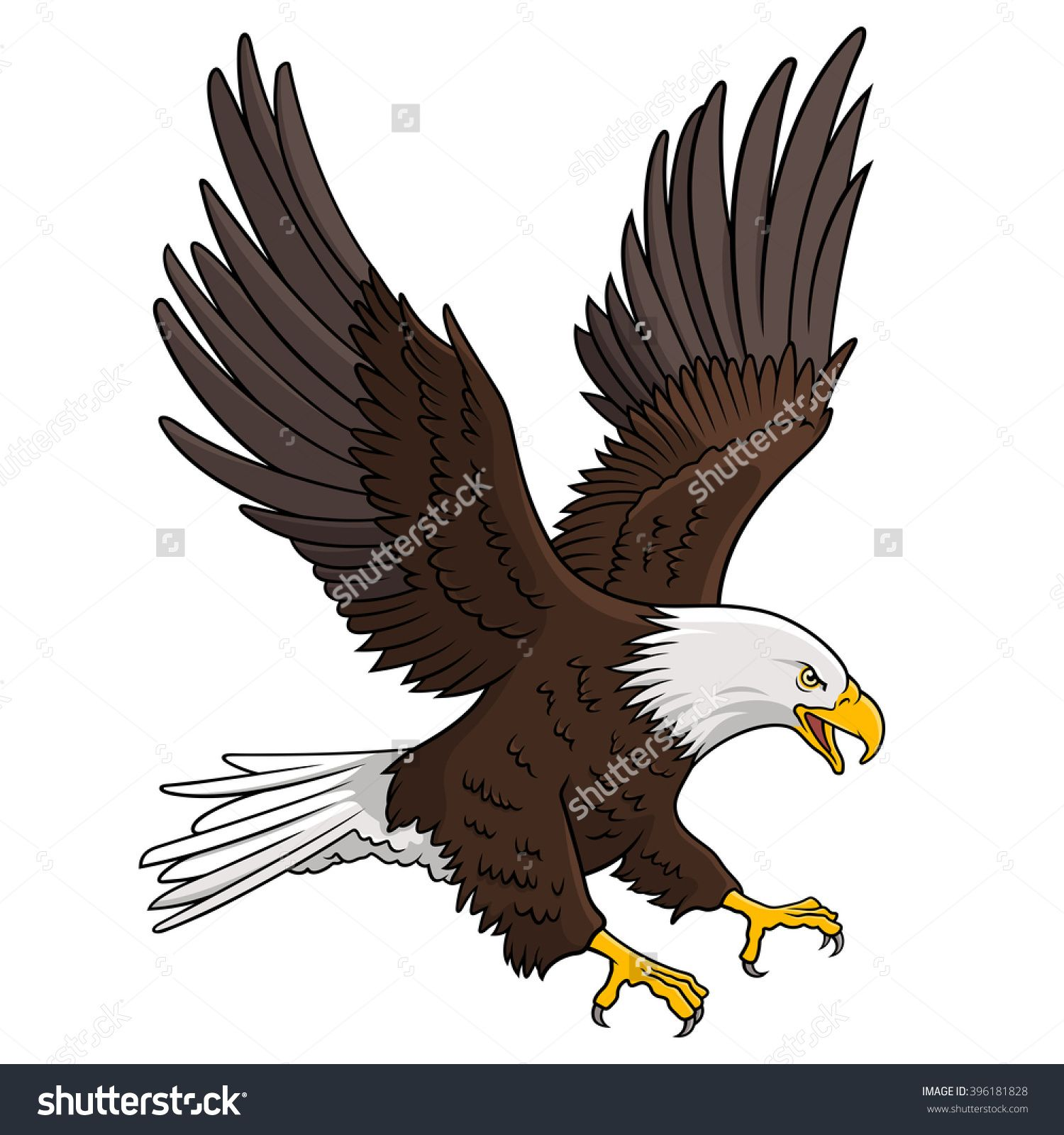 Bald Eagle Isolated White This Vector Illustration Can Be Used