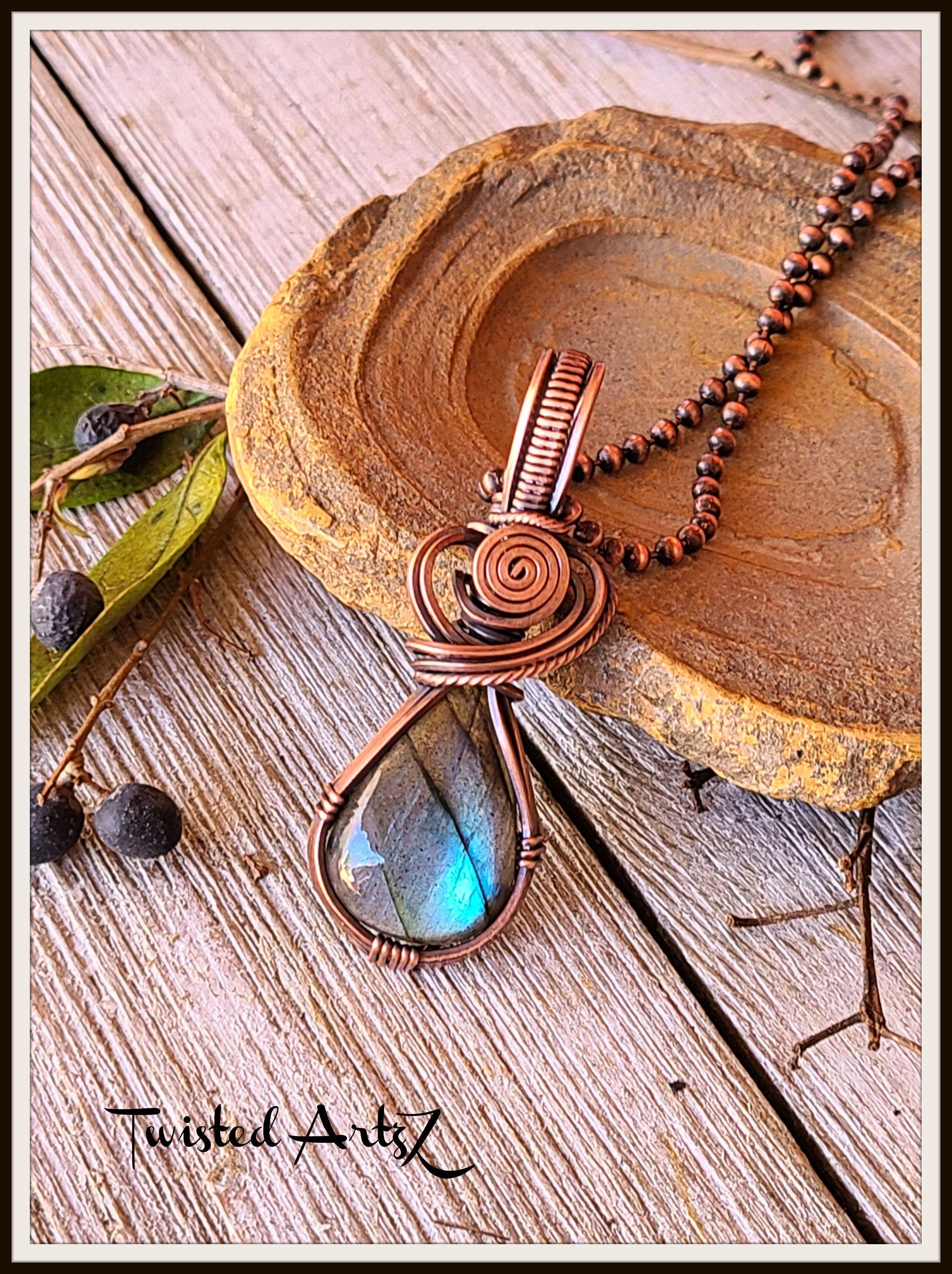 Handmade Wire Wrap Jewelry Necklace Pendant Copper Wire Wrap Pendant Natural Stone Necklace Cobra Jasper Stone Pendant