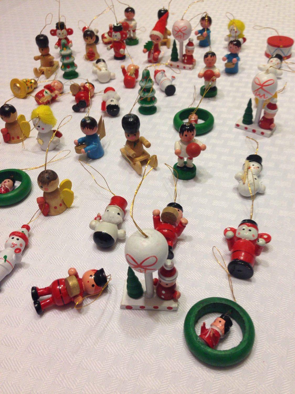 Set Of 49 Miniature Wood Christmas Ornaments Etsy Christmas Decorations Ornaments Wood Christmas Ornaments Christmas Ornaments