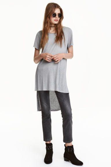 Long T-shirt in a linen blend | H&M