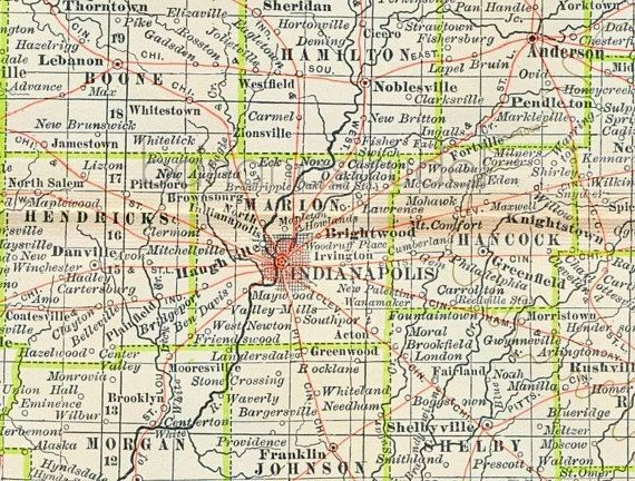 1902 Century Atlas Vintage Map of Indiana Antique Indiana Map