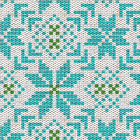 Fair Isle in Aqua and Green fabric by sparrowsong on Spoonflower ...