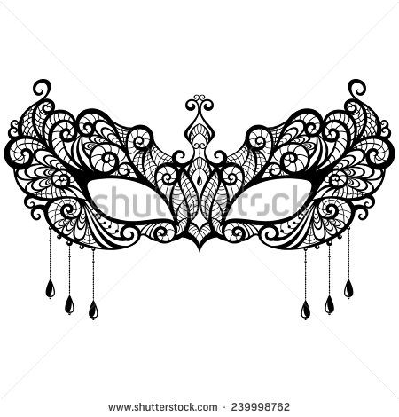 Beautiful lace masquerade mask isolated on white background Vector