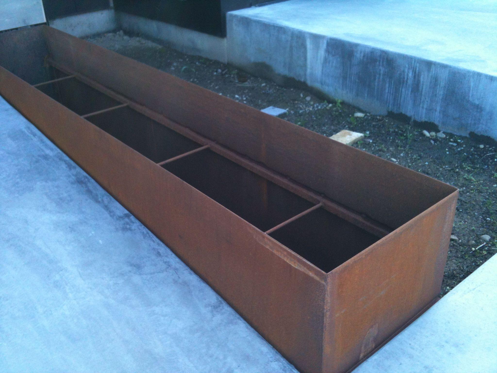 corten steel with poured concrete walk raised beds pinterest