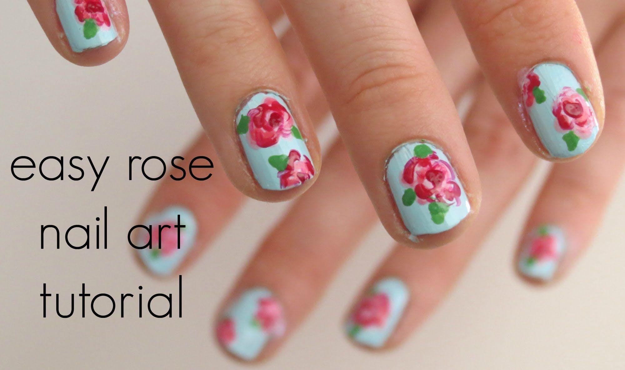 Easy Rose Nail Art Tutorial Islaayx Rose Nail Art Rose Nail Design Rose Nails