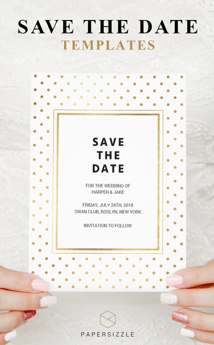 This elegant gold polka dots save the date card assures you that your friends and family reserve a spot in their calendar for your wedding day