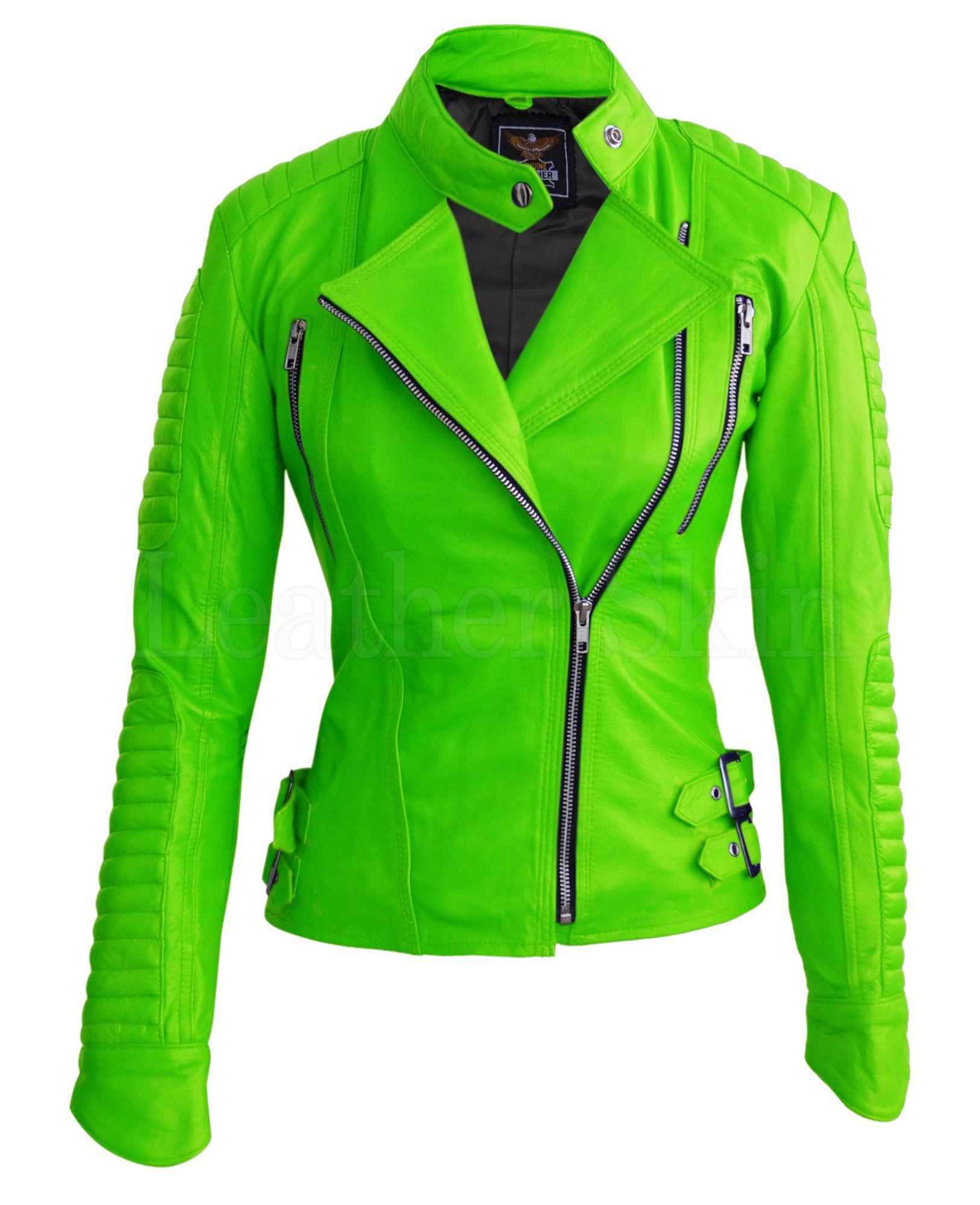 Leather Skin Women Parrot Green Brando Shoulder Padded Genuine Leather Jacket Leather Jackets Women Green Leather Jackets Jackets For Women [ 2000 x 1627 Pixel ]