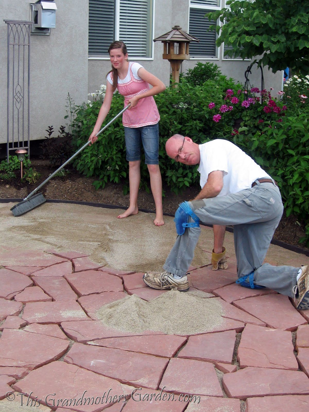 this grandmothers garden diy flagstone patio preparing the