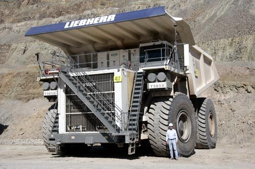 Liebherr S T282b Is The Largest Capacity Dump Truck In The World Capable Of Carrying 400t Of Material Image Min Construction Equipment Trucks Built Truck