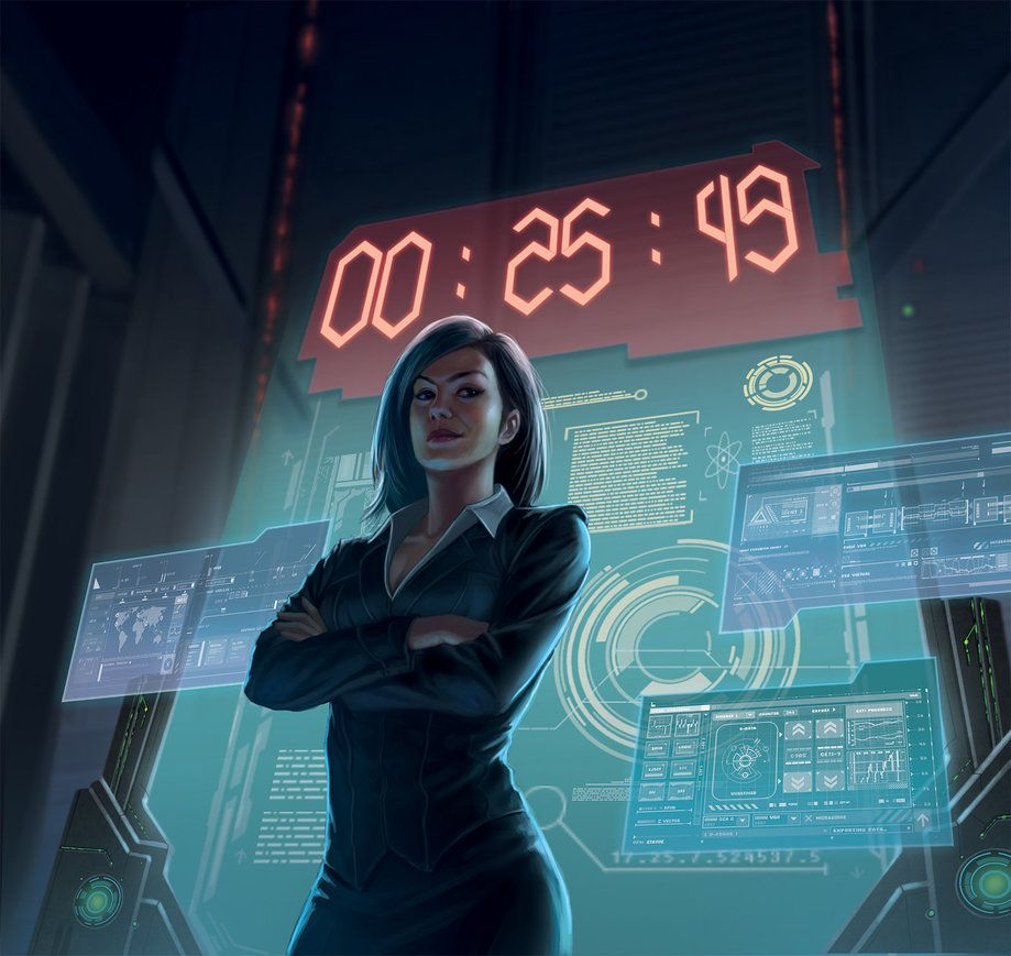 """""""Netrunner : The Hours Tick By"""" by Zefanya Maega (macarious)   #SciFi #Cyberpunk #Displays"""