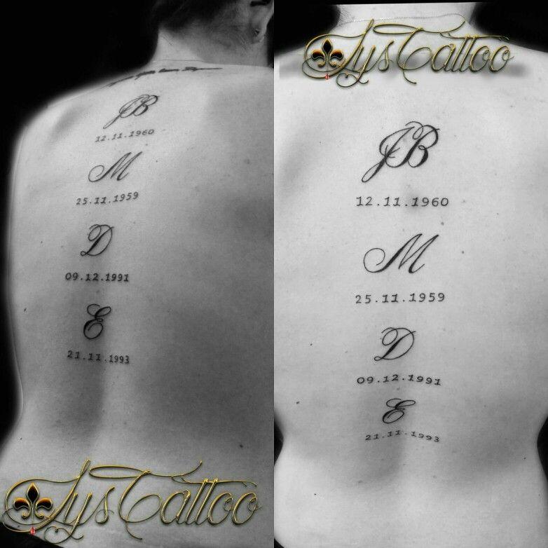 Bien-aimé tatouage haut du dos femme lettrage calligraphie anglaise et date  WA93