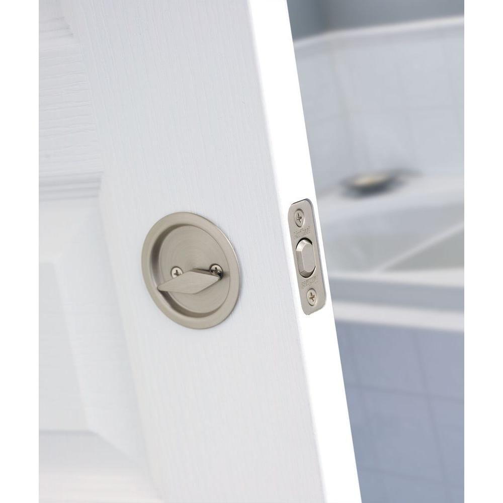 Kwikset round satin nickel bedbath pocket door lock335