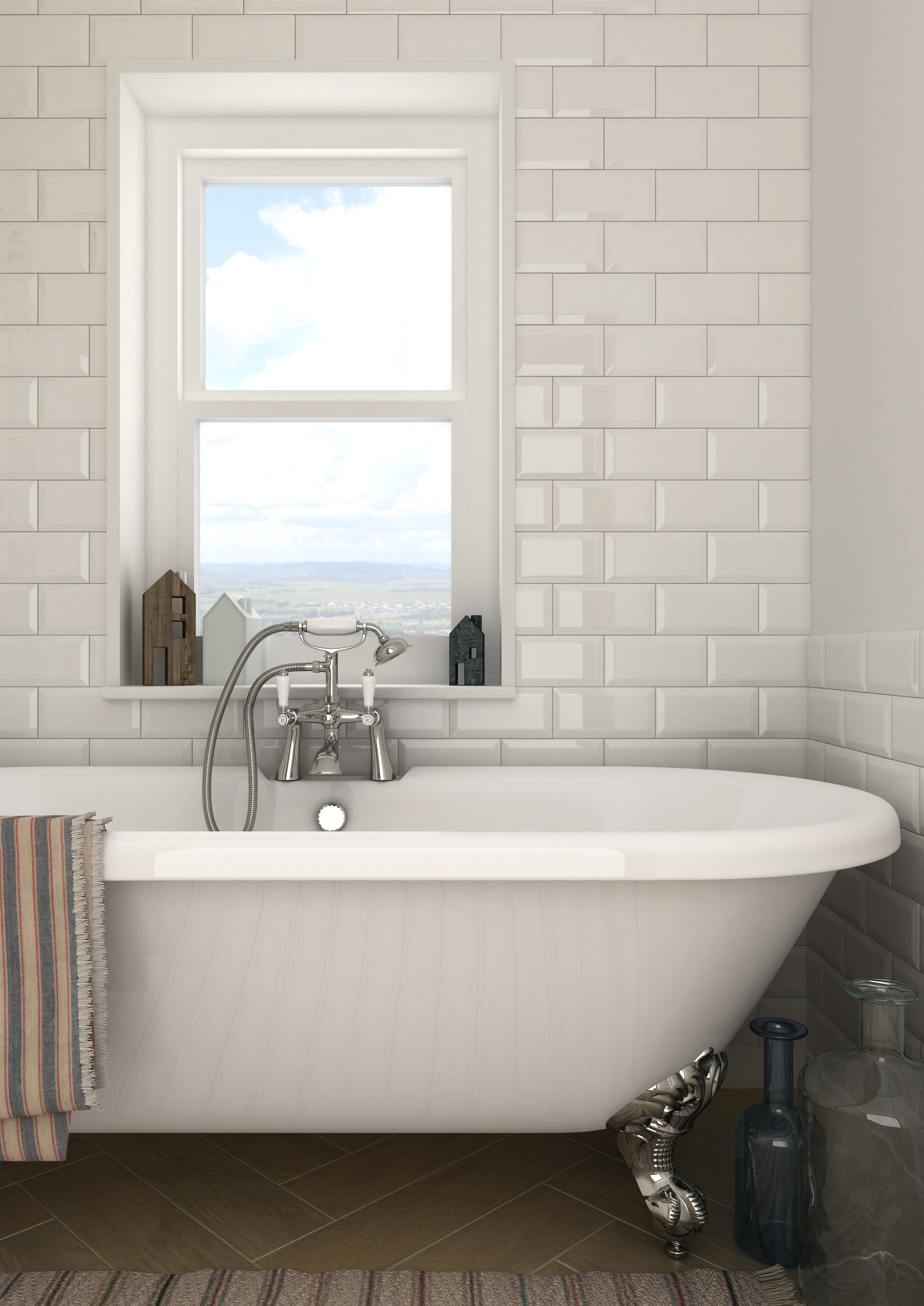 metro tiles are so universal use them with either a traditional or contemporary bathroom to