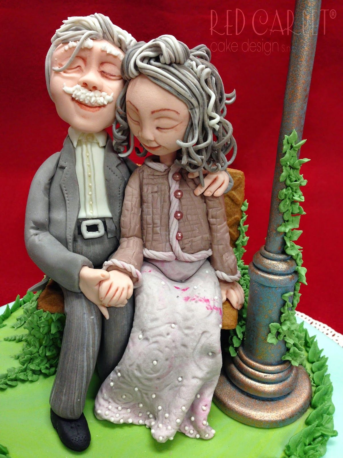 Old Couple In Love 60 176 Anniversary By Red Carpet Cake