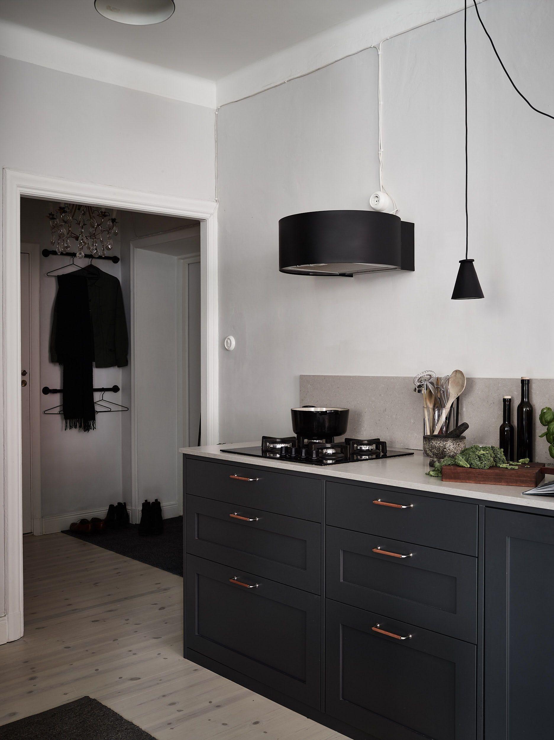 Dark Kitchen With A Beige Countertop Beige Kitchen Home Decor Kitchen Kitchen Inspirations