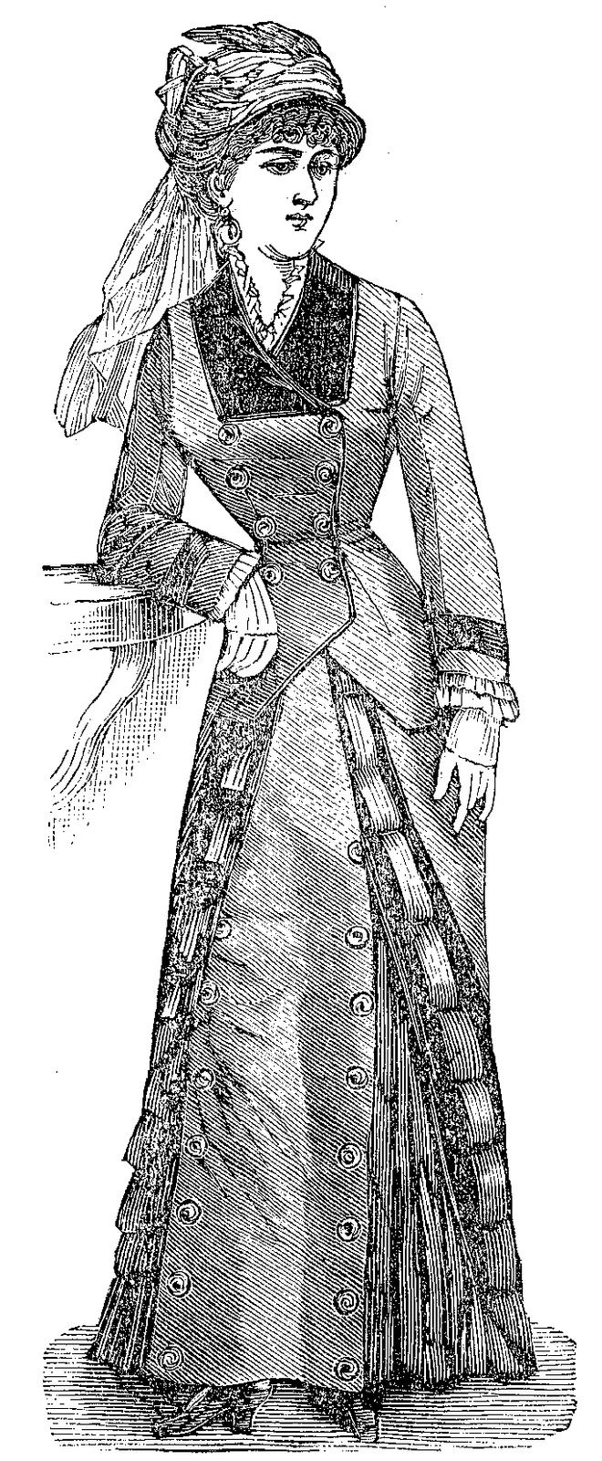 """1880 Traveling Dress pattern antique French Fashion doll size 12""""- 24 ..."""