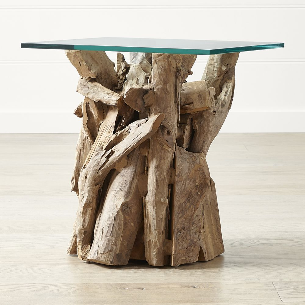 Driftwood end table with rectangular glass top in products