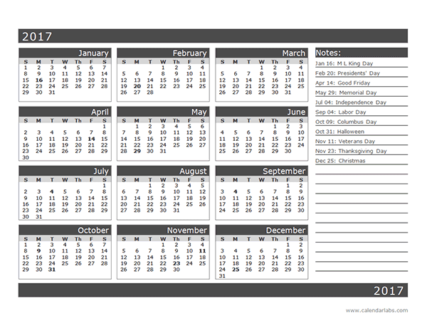 2017 12 Month Calendar Template One Page Organization Printables