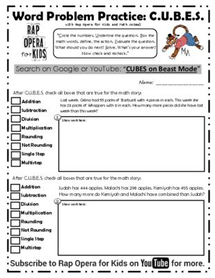 Math Word Problems Strategy Song And Worksheet From Rap Opera For
