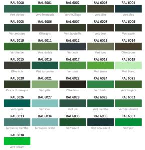 les teintes de vert nuancier ral nuanciers pinterest nuancier ral tableaux de couleur et vert. Black Bedroom Furniture Sets. Home Design Ideas