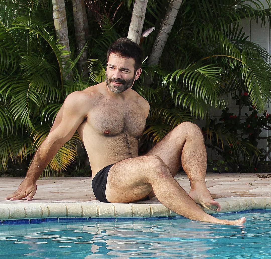 Men in the swimming pool naked
