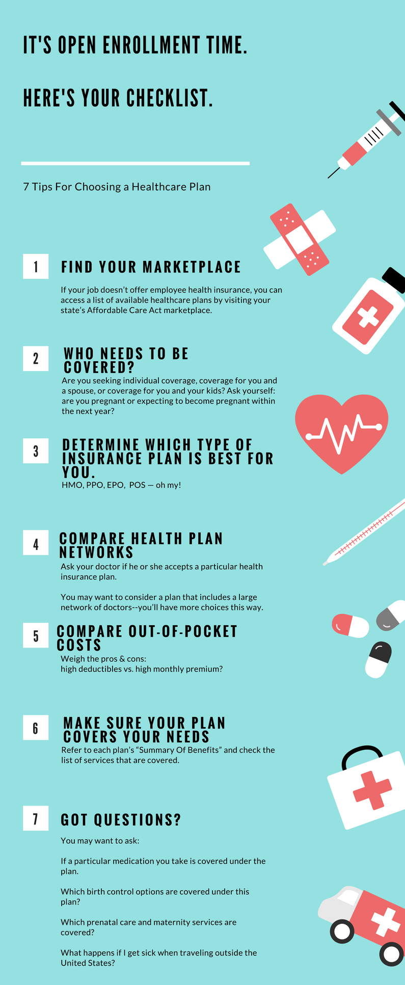 7 Tips For Choosing A Healthcare Plan Healthcare Plan Healthcare Infographics Health Care