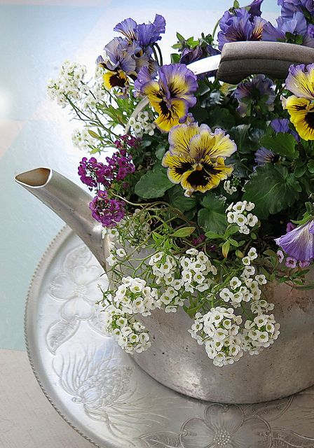 Vintage Aluminum Lazy Susan and a Tea Kettle Full of Flowers
