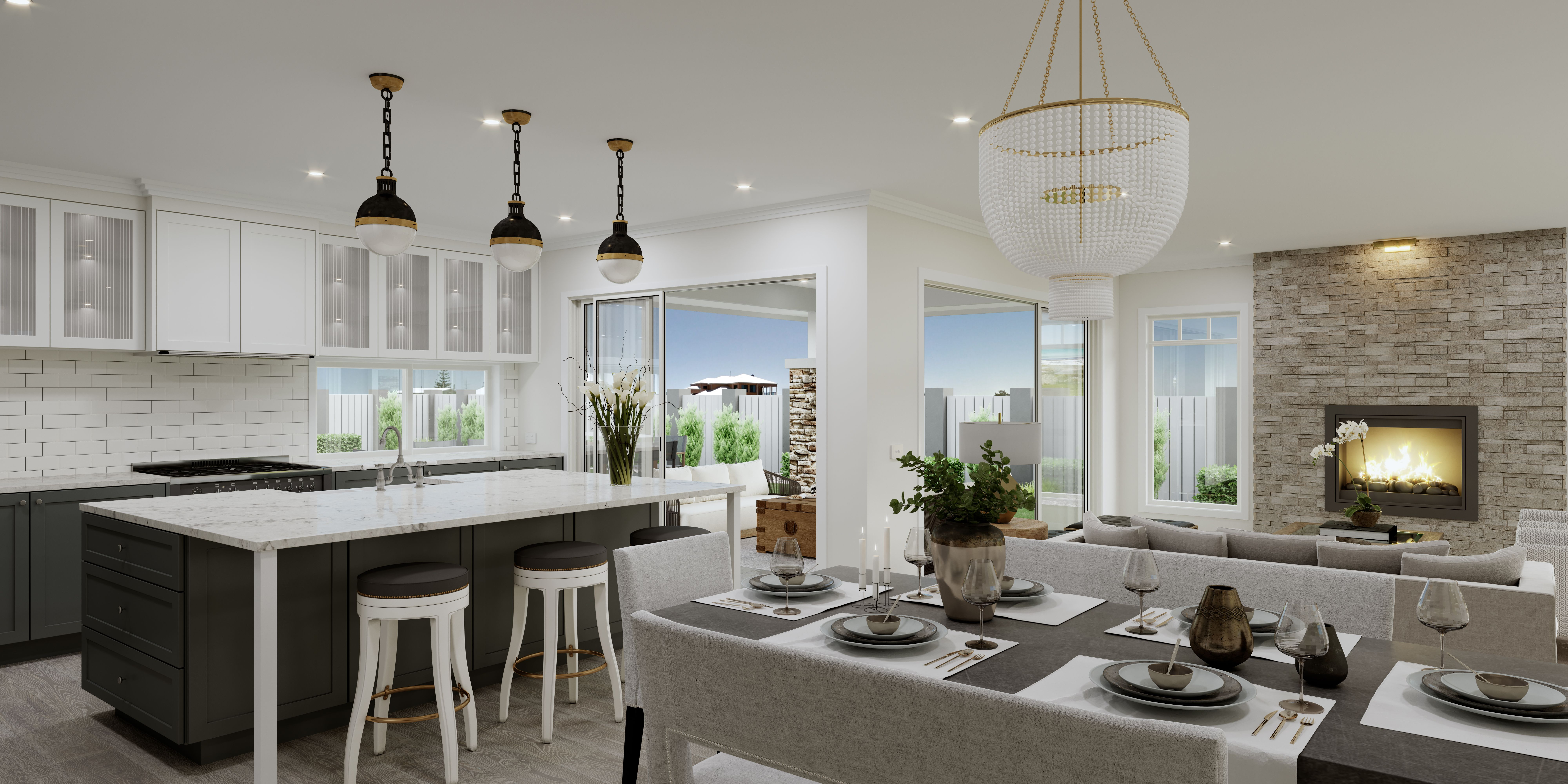 The Hamptons is a style that Australians can relate to – it is fully in tune with our white, bright landscape and indoor/outdoor living style and will appeal to those with a more conservative take on design. The colour palette features white on walls and grey timber floors, carpets and benchtops and the tapware and door handles are traditional. The shaker profile doors in the kitchen and bathrooms are contrasted with white subway tiles.