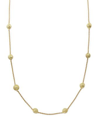 18k Gold Small Inline Bell Necklace 28L | Beautiful Jewelry