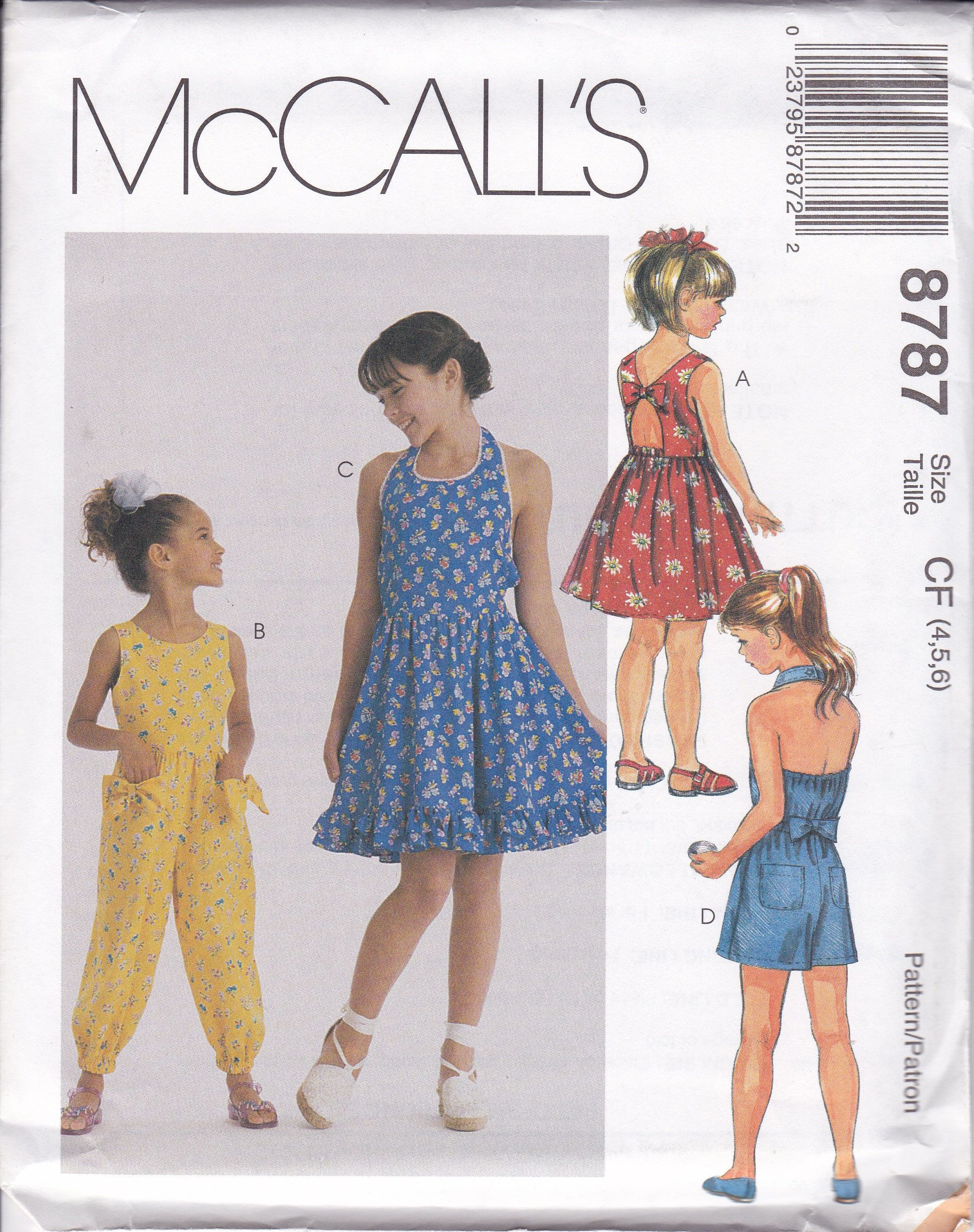 FREE US SHIP McCalls 8787 Sewing Pattern Girls Halter Backless ...