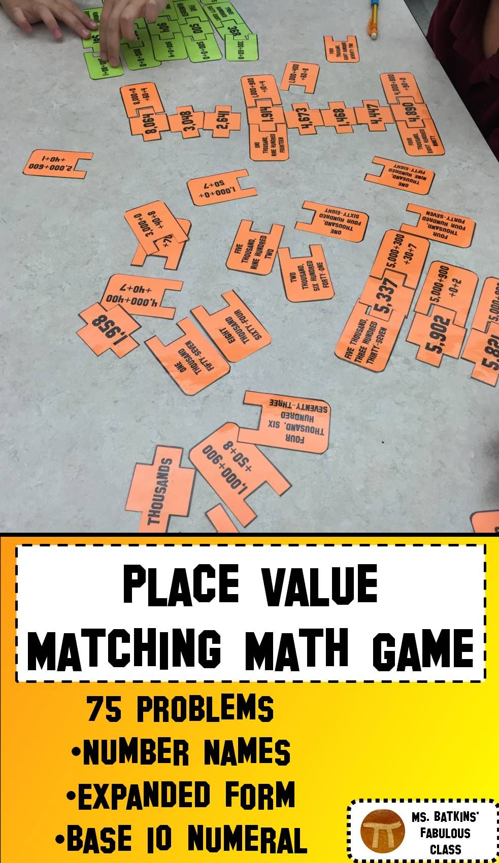 Place Value Matching Math Game With Number Names Expanded Form