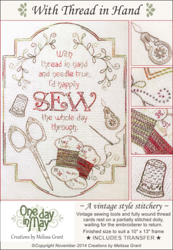 With Thread in Hand - Framed stitchery by One Day In May, Creations by Melissa Grant
