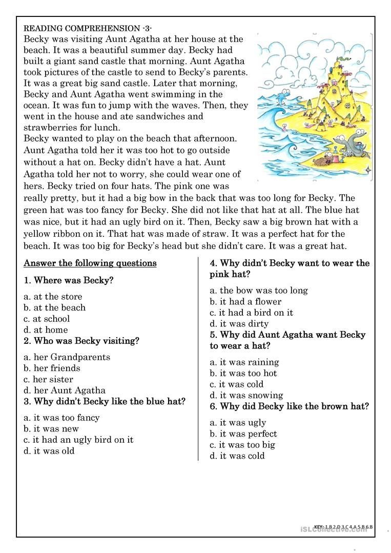 Reading Comprehension For Beginner And Elementary Students 3 Worksheet Free Esl Print Esl Reading Comprehension Reading Comprehension Comprehension Exercises [ 1079 x 763 Pixel ]