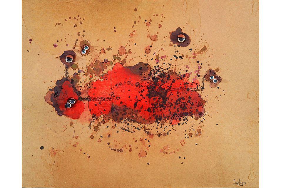 Carol Rama, Bricolage, 1967. Tècnica mixta sobre paper, 43,5 x 54,5 cm. Col·lecció particular, Torí© de la foto: Tommaso Mattina.  MACBA brings together 200 works in the largest retrospective of Carol Rama's work to date