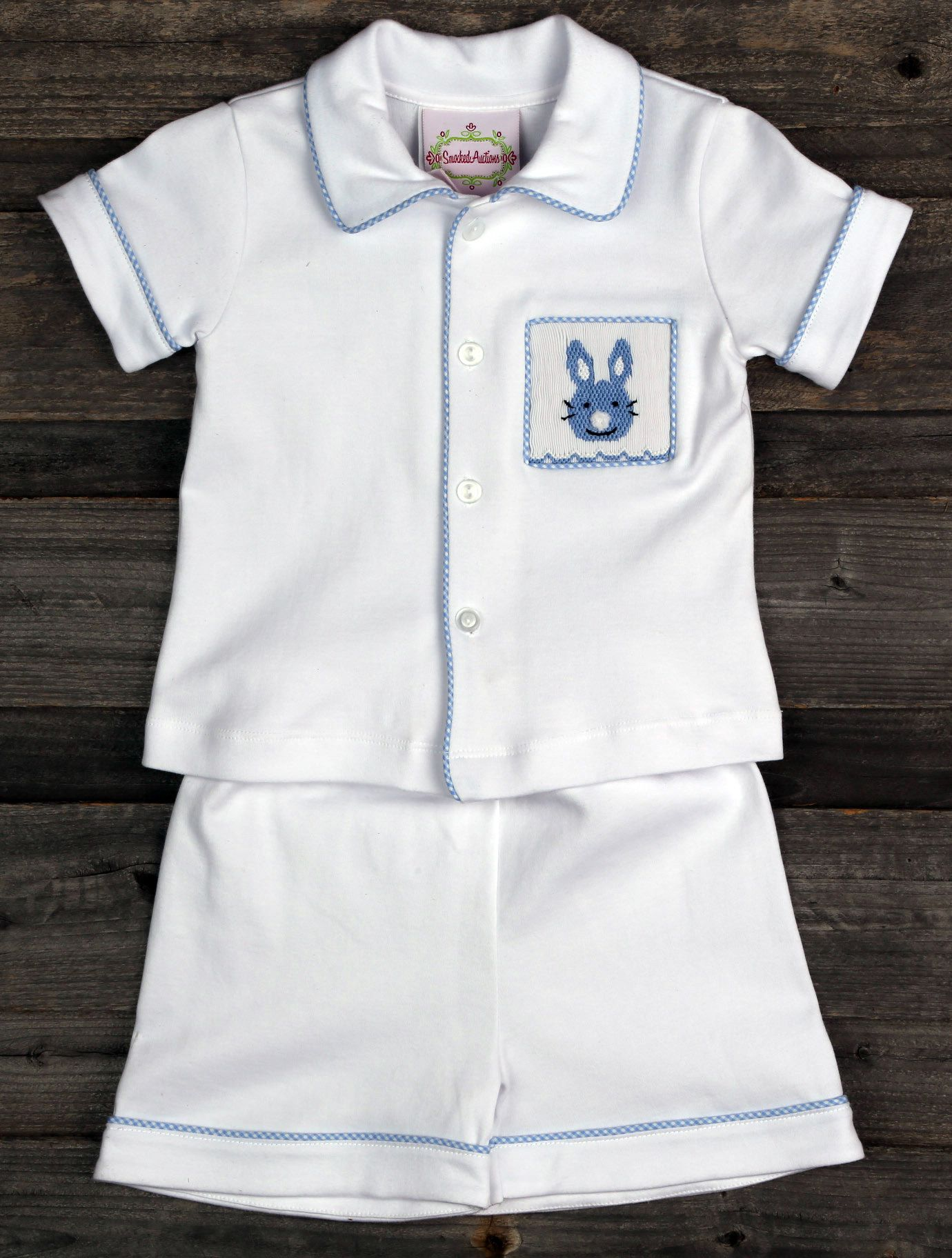 9766541d8 Boys Smocked Bunny Pajamas for Easter from Smocked Auctions | Easter ...