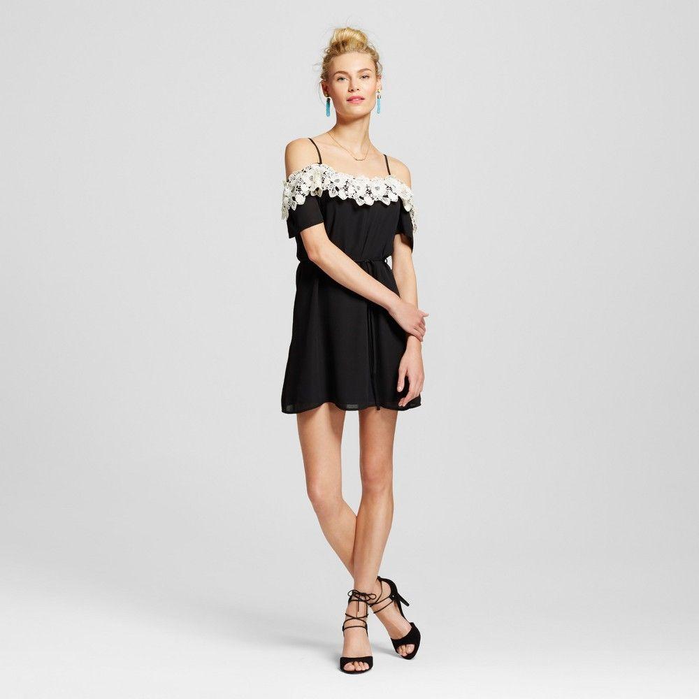 c824fb33bd68 Women s Off the Shoulder Lace Trim Dress Black XS - Lots of Love by  Speechless (Juniors )