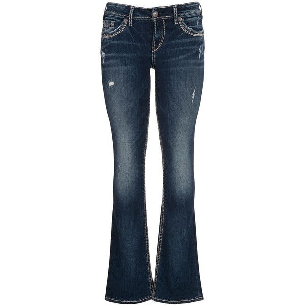 maurices Silver Jeans ® Suki Embellished Fluid Jeans (€91) ❤ liked on Polyvore featuring jeans, pants, medium wash, slim fit jeans, zipper jeans, button-fly jeans, medium wash jeans and slim fit blue jeans
