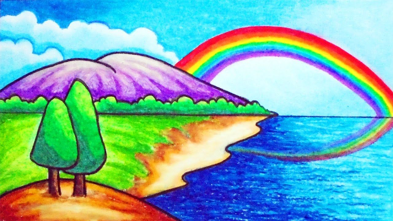 How To Draw Easy Scenery For Kids Drawing Simple Rainbow Scenery Step Rainbow Drawing Easy Drawings Easy Scenery Drawing