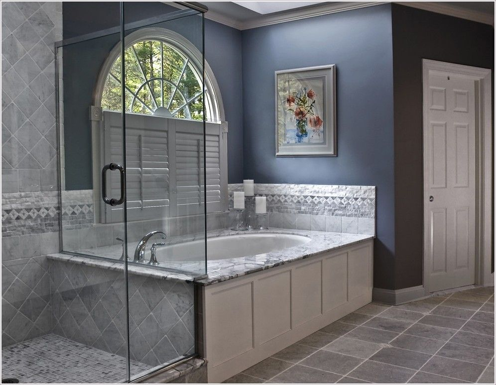 Charmant Image Of: Grey Tile Bathroom What Color Paint