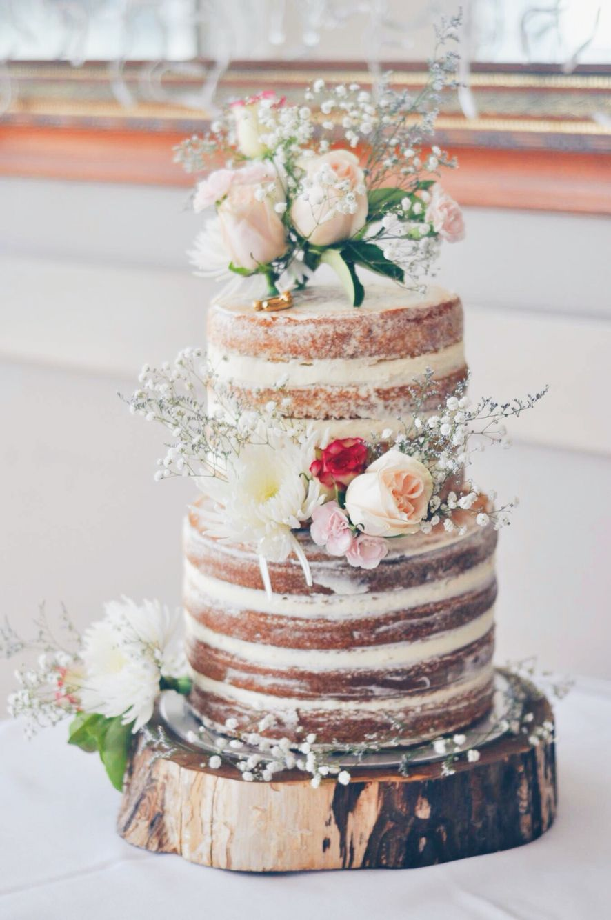 Almond Butter with strawberry filling Wedding Naked Cake | Naked ...