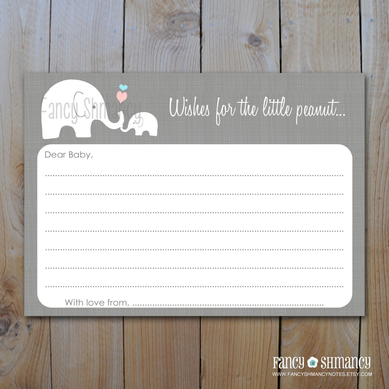 Elephant Baby Shower Advice Card Instant Download Little