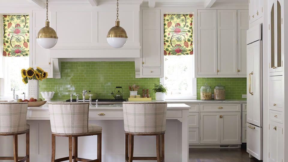 Lovely Kitchen And Fabulous Apple Green Subway Tiled Backsplash Via Katierosenfelddesign Com Green Kitchen Walls Green Kitchen Beautiful Kitchens