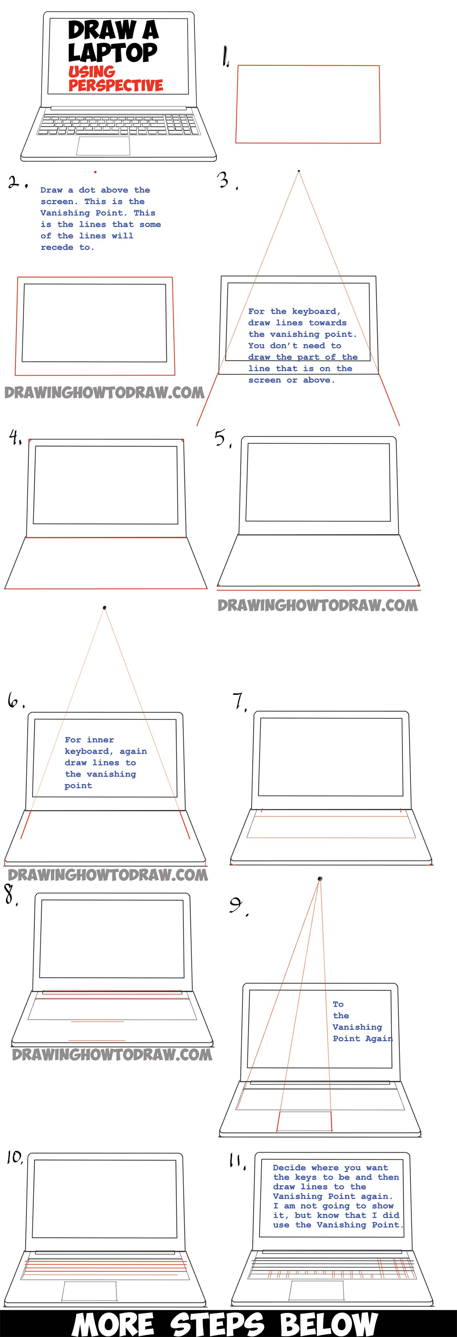 How to draw a computer laptop using one point perspective