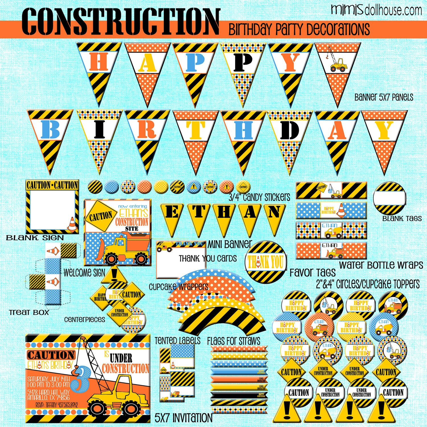 Construction Birthday Party Decorations Construction Party Decorations Printable Construction Birthday