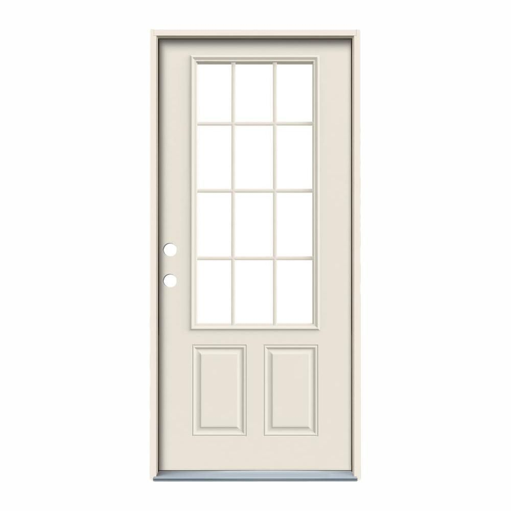 Jeld Wen 36 In X 80 In 12 Lite Primed Steel Prehung Right Hand Inswing Back Door Thdjw190900028 The Home Depot In 2020 Jeld Wen Steel Doors Back Doors
