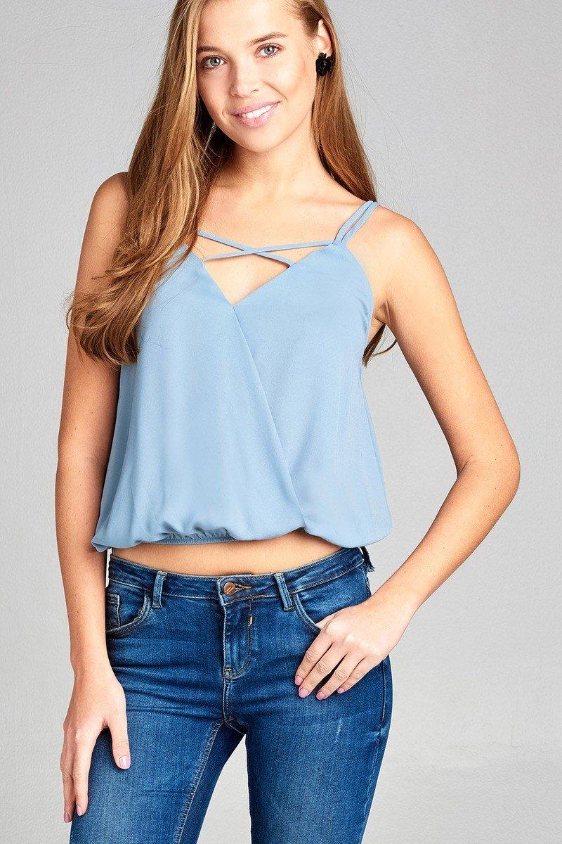 a0c17cdbe21 Ladies fashion v-neck wrap w/cross strap elastic hem cami wool dobby ...