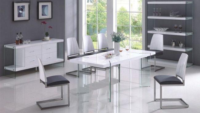 Esszimmer Design Tisch ausziehbar-Glas Beine-Schräg gestaltet Stühle ...