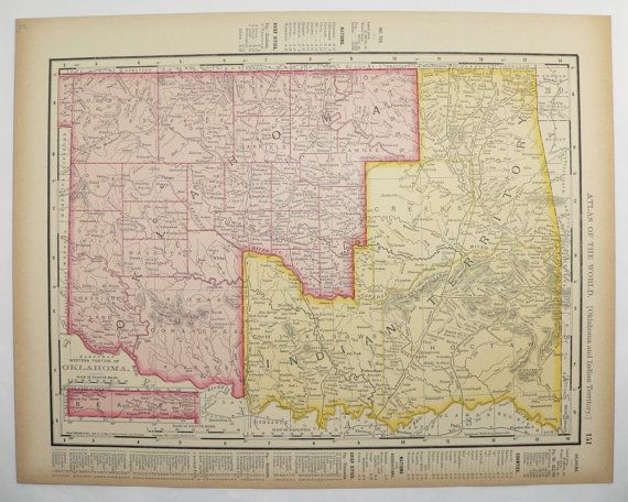 Antique Indian Territory Map Oklahoma Map Vintage Kansas Map State