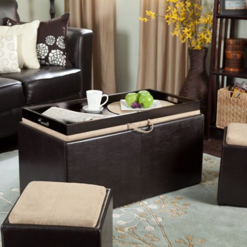 3 Piece Brown Storage Ottoman Coffee Table Furniture Set Home Living ...